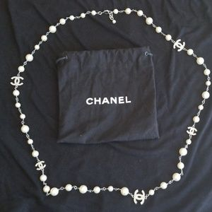 CHANEL Pearl and Crystal Logo Necklace